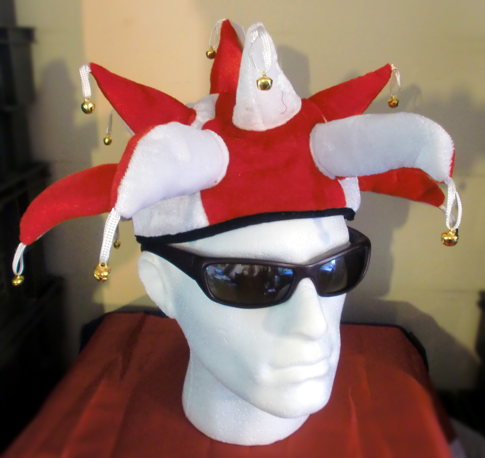JESTER HAT RED & WHITE