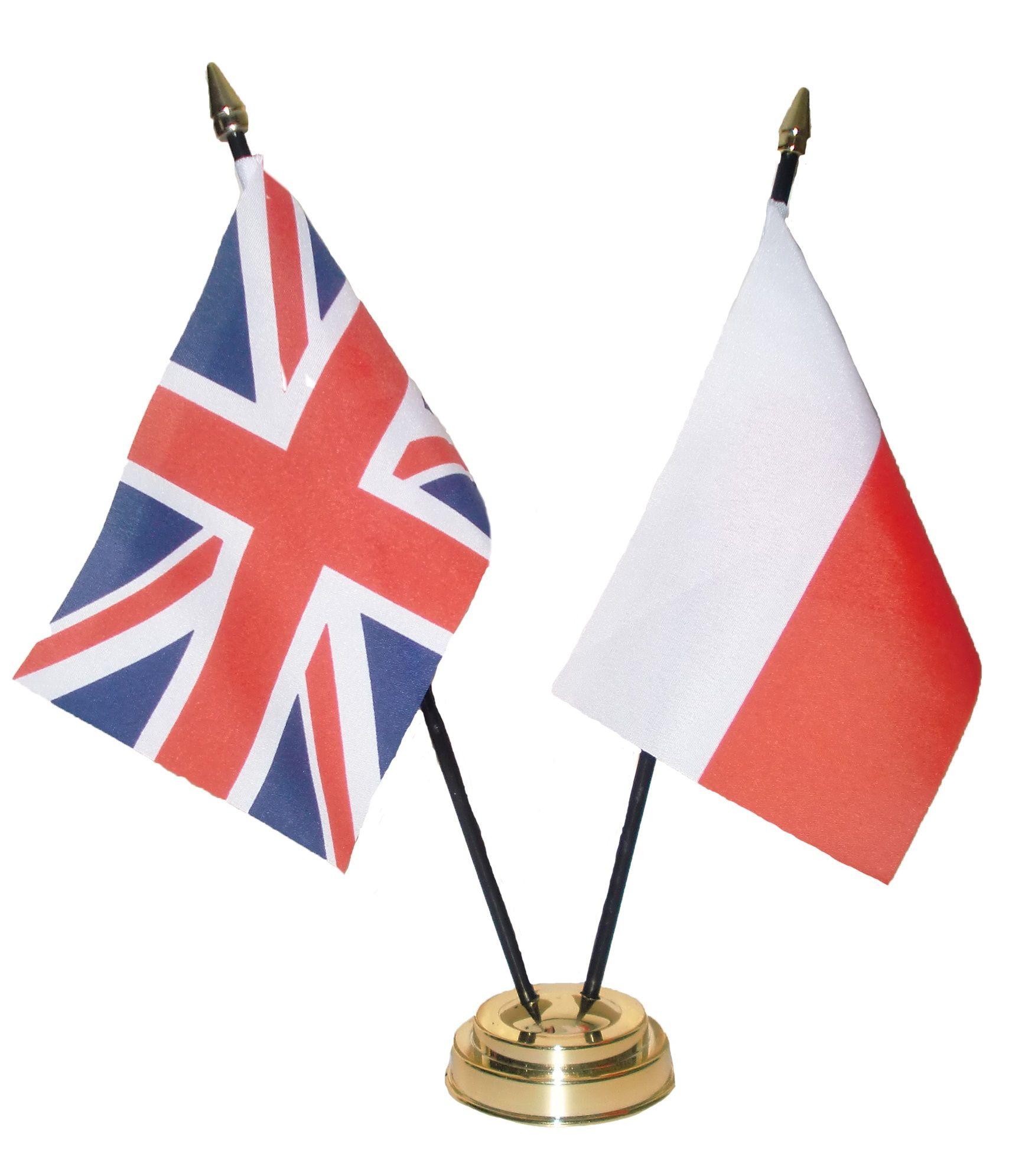 union jack poland table flag set with golden base