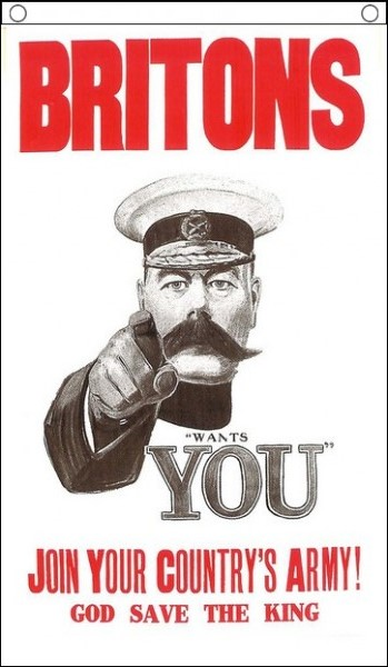 'BRITONS' WORLD WAR 1 RECRUITMENT POSTER - 5 X 3 FLAG
