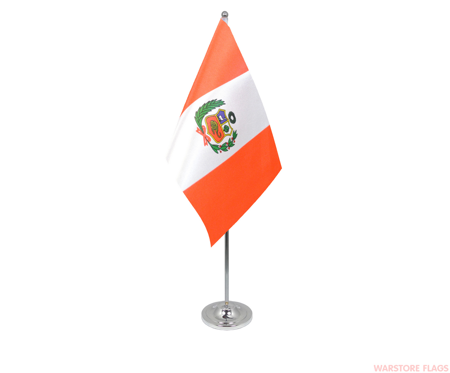 peru with crest deluxe satin table flag